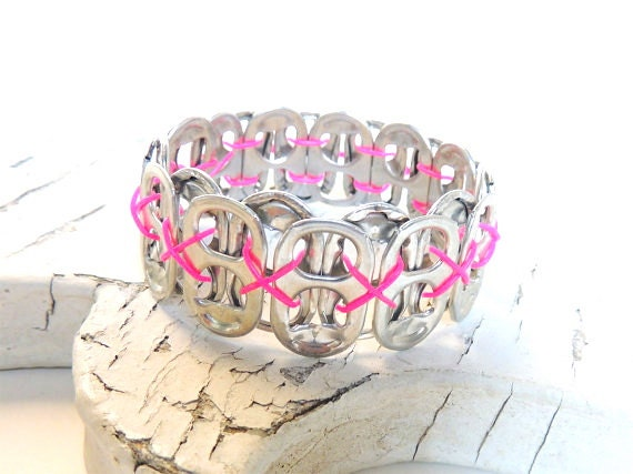 SODA TAB BRACELET - Simply Rosy - for teens and adults - eco-friendly/upcycled/recycled jewelry - under 10.00
