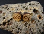 Round Stud / Post Earrings w/ bicycle / cruiser bike engraving - Maple Wood - small 10mm diameter - Light