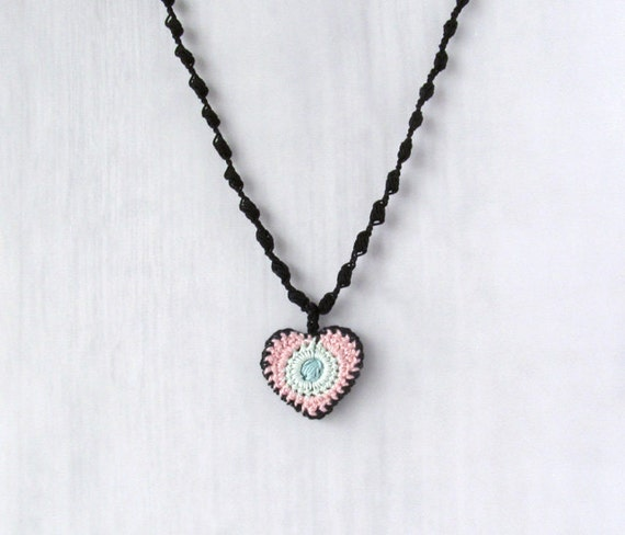 Necklace Rita, boho chic jewelry, gift for her, handmade and trendy, original textile necklet with multicolor heart