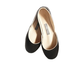 Black Leather Ballet Flats | Ballerina Shoes in Black | Casual Elegant Flat Shoes | Black Leather Pumps | Slip Ons... Audrey...ready to ship