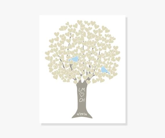 Bridal Shower Gift Heart Tree Print in Taupe w Bluebirds - Art Print Digital Monogram Name Date - Wedding Anniversary