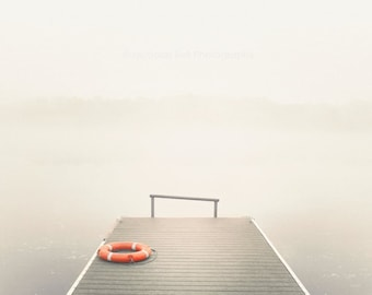 nautical photography, lake house decor, dock, pier, fog photography, landscape photography, lake, Ethereal Summer