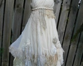 """vintage inspired shabby chic chiffon dress with grecian bodice and shabby hem..small to 34""""bust..."""