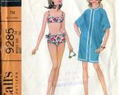 McCalls 9285 Vintage Swimsuit Bathing Suit Bikini Coverup Tunic Sewing Pattern B36