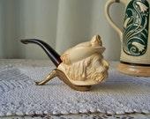 Vintage Meerschaum Pipe Hand Carved Cavalier Meerschaum Tobacco Pipe Smoking Accessory Man Cave 1970s