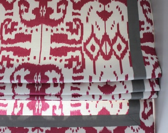 Custom Roman Shade in Quadrille China Seas Island Ikat in Magenta with Samuel & Sons Grosgrain Ribbon Trim