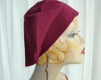Maroon Cotton Jersey Beret, Chemo Hat