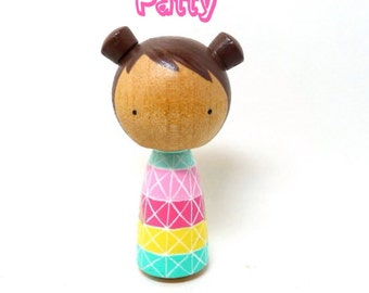 Wooden Peg Doll Kokeshi Pastel Patty