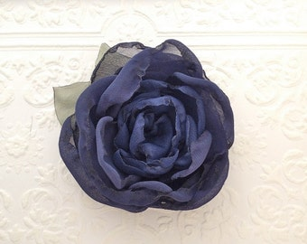 Navy Blue Fabric Flower Hair Clip, Pin, or Brooch