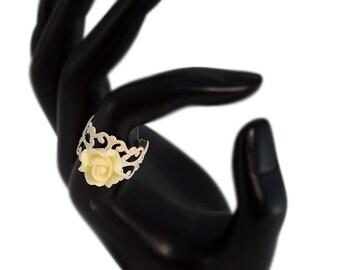 Glittering Cream White Rose Ring