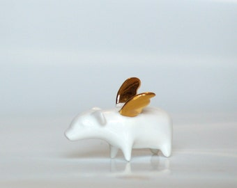 Piggy with gold wings, Ceramic miniature Porcelain figurine, sweet minature animal