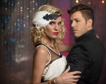 1920s Headband Feather Headband Flapper Dress, 1920s Dress Dark Gray Headpiece Gatsby Dress Gunmetal Great Gatsby Headband, Flapper Headband