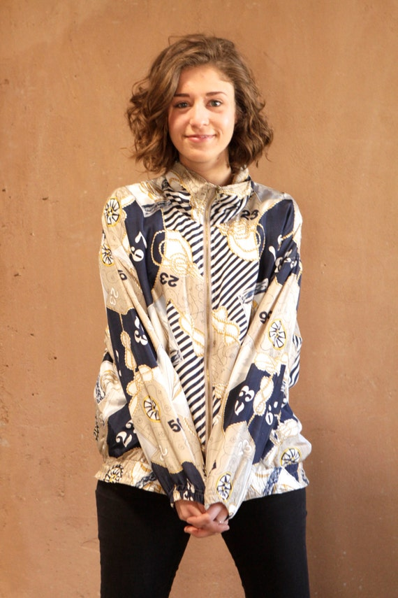 nautical VERSACE style 90s silk baroque ABSTRACT dark navy vintage SLOUCHY jacket