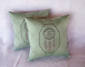 Dreamcatcher Pillow Set Light Seafoam Green 14x14 inch decorative pillows (set of 2) Upcycled Geometric fabric