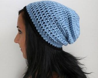 Serenity Blue Slouchy Beanie with Black Trim, Crochet Classic Beanie Hat, Blue Mens Beanie