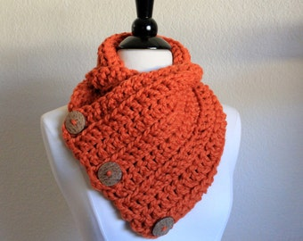 Orange Buttoned Cowl Scarf, Button Scarf, Neckwarmer, Boston Harbor Scarf, Chunky Knit, Chunky Scarf, Winter Accessories