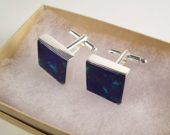 Blue Cuff Links SHIPS IMMEDIATELY Handmade Blue Green Square Cuff Links Gifts for Groom Groomsmen Blue Green Wedding Cufflinks