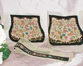 Vintage 30s or 40s Pre-Finished Floral Silk Micro Petitpoint Purse Components on Gauze