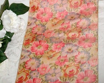"""Wide Antique """"Watered"""" Silk Taffeta Ribbon in Bright Floral 8 3/4"""" Wide by 64"""" Long"""