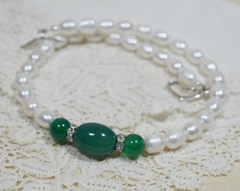 Beaded Pearl Necklace Green Jade With Pearl Necklace Gemstone Necklace Birthstone Jewelry Choker Necklace