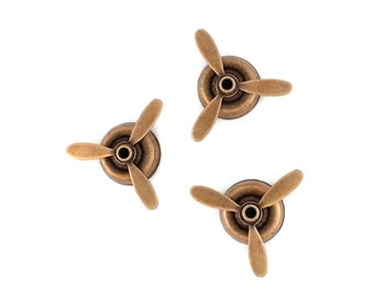 Steampunk Small Ox Brass Propeller perfect for steampunk art Made in the USA Brass Set of 3