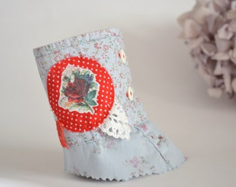 shabby light blue and red wrist cuff - shabby chic - rose details - floral wrist cuff - eco friendly - repurposed bracelet - gift for her