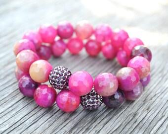 Crystal Jewelry, Bohemian Jewelry, Pink Gemstone Bracelet Set