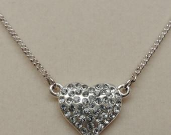 Vintage Silver Rhinestone Heart Necklace