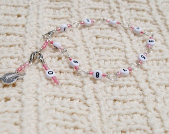 Row Counter Bracelet in Silver and Pink