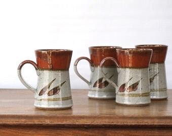 Vintage Mugs / Stoneware Pottery Mug Set of 4 / handmade artisan