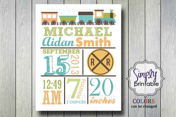 Choo Choo Train Nursery Wall Print for Boys Printable