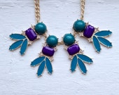 Purple statement Necklace, Enamel Feathers, Vintage Style Necklace, Teal Necklace, Purple Necklace, Gold and Turquoise, Jcrew Necklace,