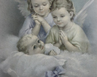 "Vintage 1950's Bonella Milano Original Guardian Angel New Born White Wooden Frame Original Print 8""X10"""