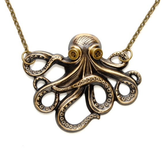 Octopus Jewelry Octopus Necklace Steam Punk Kraken Cthulhu Steampunk Goggles Steam Punk Jewelry By Victorian Curiosities