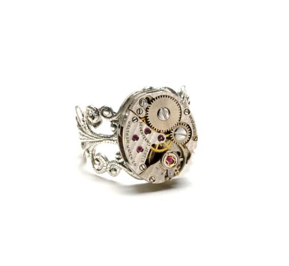 RARE ELGIN Steampunk Ring FANCY Herringbone Steam Punk Ring Silver Watch Ring Steampunk Jewelry VictorianCuriosities
