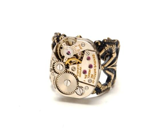 Steampunk Ring MENS LARGE Steampunk Vintage Benrus Watch Ring Guy Industrial Antique Brass Steam Punk Steampunk Jewelry VictorianCuriosities