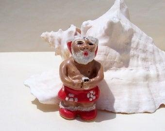 "Tropical Santa Claus Tiki Christmas Shot Glass Toothpick Holder Island Series ""Happy Tiki Santa"" by Linda Sapp Long"