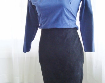 80's Black Suede Skirt, High Waisted Pencil Skirt, Size 8