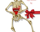 Valentines day  Card  Articulated paper doll skeleton Gothic