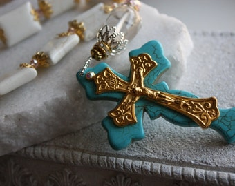 Hand Made Rosary Beads in White Turquoise with Gold Italian Crucifix
