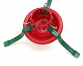 Vintage Christmas Tree Stand Red Green Metal Tree Holder Industrial Holiday Decorations