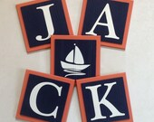 Orange and Navy Blue Nautical Baby Boy Nursery, Name Wall Letter Sailboat Room Decor, 6 x 6 Personalized Wooden Plaques Adorable Baby Gifts