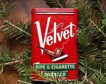 Vintage Velvet Brand Tobacco Tin - Red, Green and White Advertising - Holiday Decor