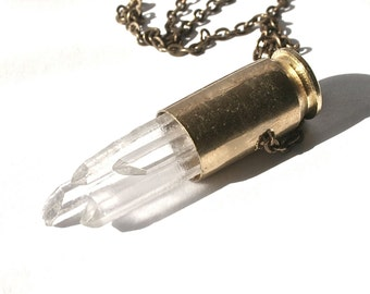 quartz bullet necklace multi crystal point