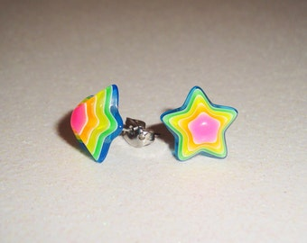 Neon Rainbow Star 3D Earrings
