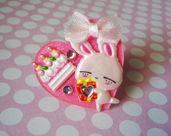 Happy Birthday Pink Bunny, Gift and Birthday Cake Hot Pink Heart Ring
