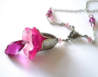 Pink lucite flower pendant necklace, Austrian crystal, Fuchsia Rose colors, silver flower, crystal drop, antiqued silver pink flower jewelry
