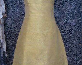 SALE-Lemon Yellow Shantung Bridesmaids Dress, size X-Small (4)