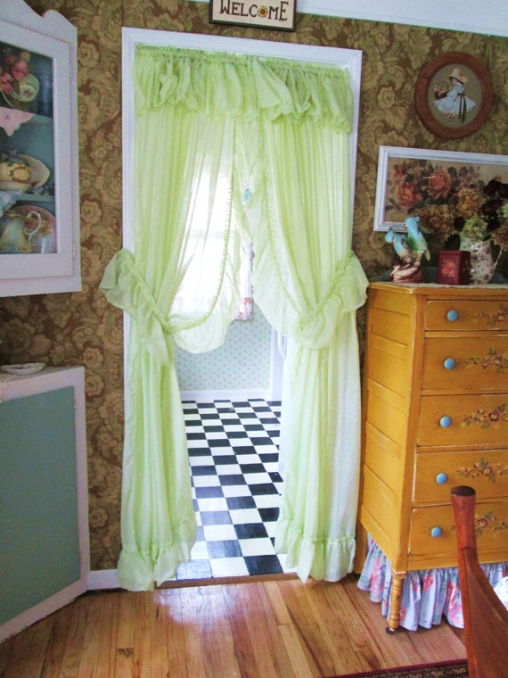 Priscilla Curtains Lime Chartruese Mint Green Ruffled Drapes