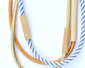3 piece MIXED - WOOD & FABRIC necklaces - Gold, Copper, Denim Stripe